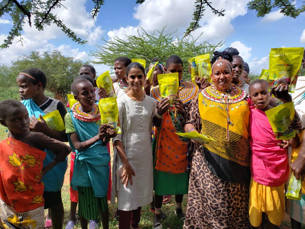 Kenya group of girls charity sanitary pads