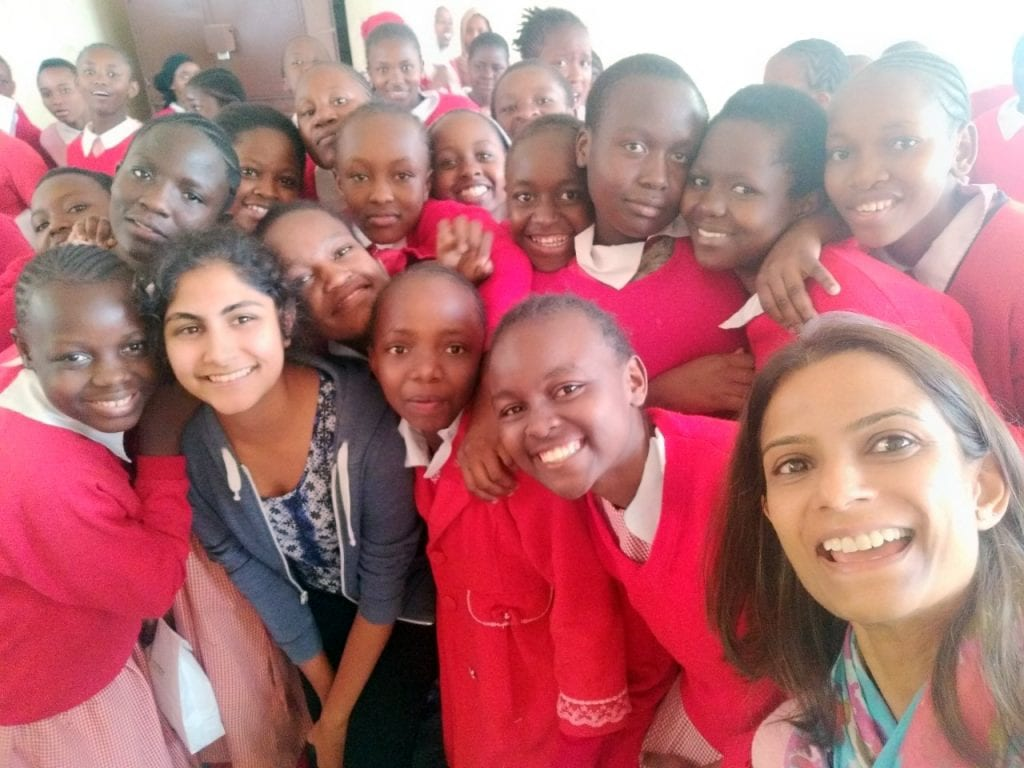 Young girls happy to have reusable pads